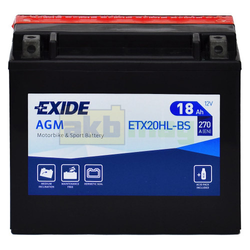 Мото аккумулятор Exide 6СТ-18 ETX20HL-BS
