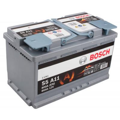 Автомобильный аккумулятор Bosch 6СТ-80 S5 A11 AGM 0092S5A110