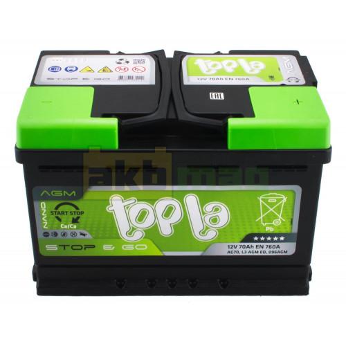 Автомобильный аккумулятор Topla 6СТ-70 Start-Stop&Go AGM