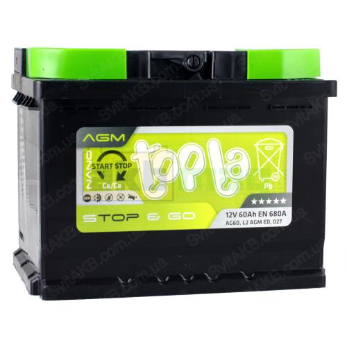 Автомобильный аккумулятор Topla 6СТ-60 Start-Stop&Go AGM