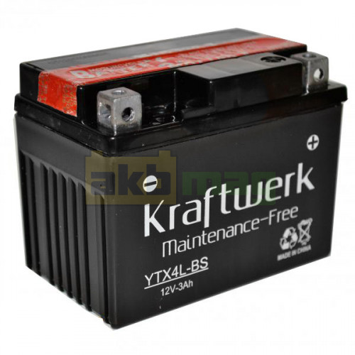 Мото аккумулятор Kraftwerk 6СТ-3 YTX4L-BS
