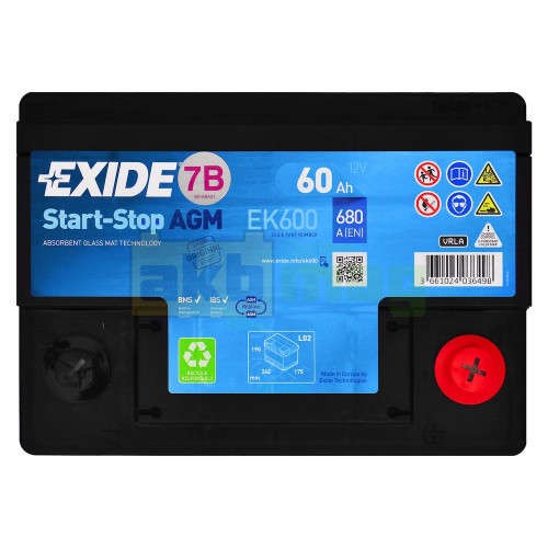 Автомобильный аккумулятор Exide 6СТ-60 Start-Stop AGM EK600