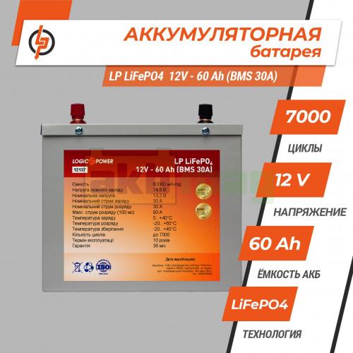 Аккумулятор LogicPower LiFePO4 12V 60AH (BMS 30) Металл
